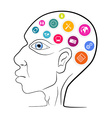 Thinking Man Head Outline with Technology Ic vector image