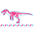 velociraptor light neon skeleton vector image vector image