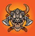 viking nordic warrior skull axe isolated vector image vector image