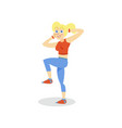 sportive young woman exercising girl working out vector image