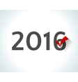 2016 written on white background with a red check vector image vector image