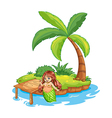 A fat mermaid at the beach vector image vector image