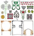 Art Nouveau floral ornaments vector image