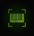 bar code green line icon on dark background vector image
