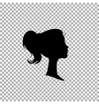 black profile silhouette of young girl or woman vector image vector image