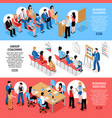 business meeting isometric horizontal banners vector image vector image