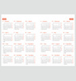 calendar for 2018 and 2019 year on white vector image vector image