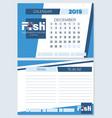 calendar planner for december 2019 fish vector image vector image