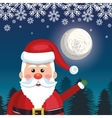 card greeting santa with night landscape vector image vector image