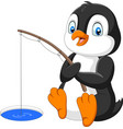cartoon penguin fishing on arctic ice vector image vector image