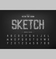 chalk font and alphabet hand draw typeface and vector image vector image