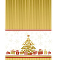 color christmas card with tree and gifts vector image vector image