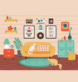 comfy living room cozy stylish interior in hygge vector image vector image