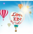 Couple in hot air hearts balloons EPS 10 vector image vector image