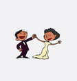 couple of black newlyweds dancing happy isolated vector image vector image