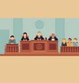 courtroom interior with judges and lawyer justice vector image