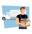Delivery service man with a box in his hands and vector image