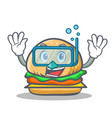 diving burger character fast food vector image vector image