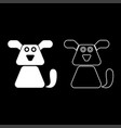 dog icon set white color flat style simple image vector image