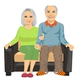 elderly couple sitting close together on sofa vector image