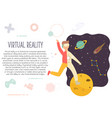 excited man in virtual reality exploring space vector image