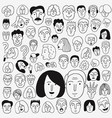 faces of people - doodle set pencil drawings vector image vector image