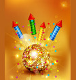 festive background with glass disco ball and firec vector image