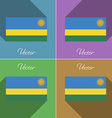 Flags Rwanda Set of colors flat design and long vector image