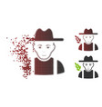 fractured dot halftone wheat farmer icon with face vector image vector image