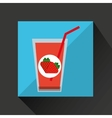 fresh juice fresh strawberry and cup glass straw vector image vector image