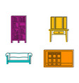furniture icon set color outline style vector image