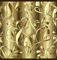 gold 3d baroque damask seamless pattern textured vector image vector image