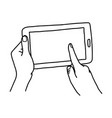 hand using tablet with finger touching screen - vector image vector image