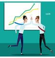Happy businessmen giving five vector image vector image