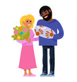 happy parents with new born bacartoon vector image