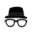 hat and glasses icon vector image vector image