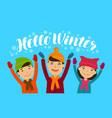 hello winter banner happy children enjoy the vector image vector image