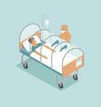 infected patient lying in special capsule vector image vector image