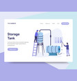 landing page template of oil storage tank vector image