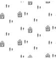 Line houses scandinavian ornament hand vector image vector image