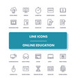 line icons set online education vector image vector image