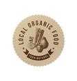 local organic food round paper emblem vector image