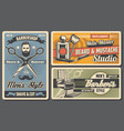 men shave cut and trim barbershop salon vector image