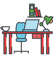office desk workplace workspace concept line vector image