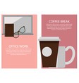 office work break collection vector image vector image