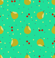 Pear and cherry seamless pattern vector image vector image