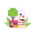 people reading on big stack book with tree vector image
