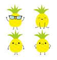 pineapple fruit icon set cute cartoon kawaii vector image