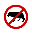 prohibition sign for wolves on white vector image vector image