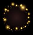 round gold frame random golden stars on black vector image